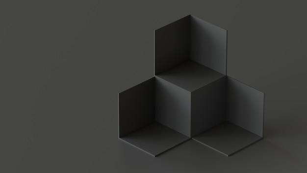 Schwarze würfelkästenhintergrundanzeige auf schwarzem hintergrund. 3d-rendering.