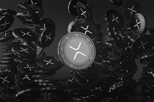 Schwarze xrp-münzen, die von oben in der schwarzen szene fallen, digitale währungsmünze für finanzen, token-austauschförderung. 3d-rendering