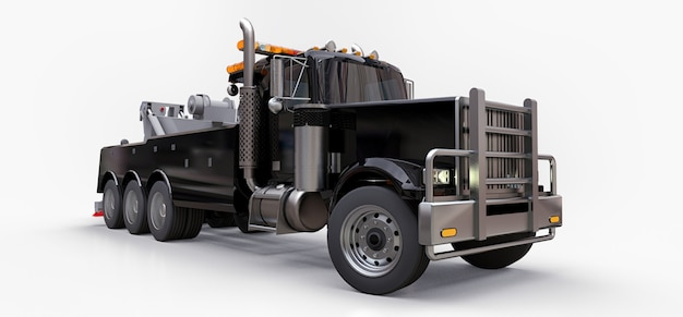 Schwarzer abschleppwagen für den transport anderer großer lkws oder verschiedener schwerer maschinen. 3d-rendering.