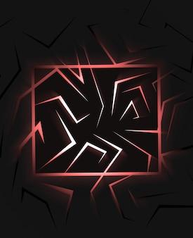 Schwarzer abstrakter hintergrund des 3d-renderings mit draufsicht des roten lichts