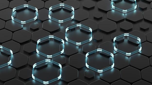 Schwarzer abstrakter hintergrund mit sechsecken und glühen. 3d-illustration, 3d-rendering.