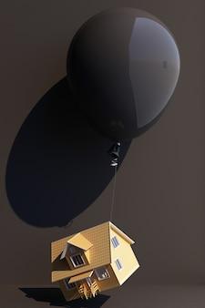 Schwarzer ballon mit einem haus gefesselt und hochgezogen