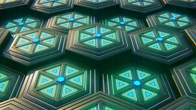 Schwarzer blauer und orange hexagonhintergrund. moderner hintergrund. abbildung 3d.