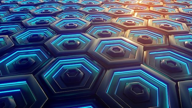 Schwarzer blauer und orange hexagonhintergrund.