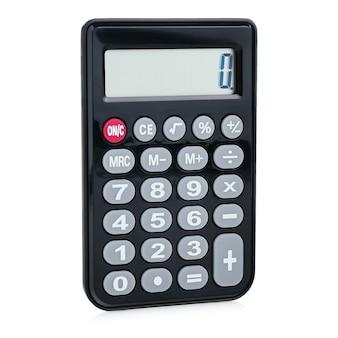 Schwarzer digitaler rechner aus kunststoff, isoliert auf weißem hintergrund, nahaufnahme. symbolökonomie, mathematik, buchhaltung, finanzkonzept. der tag des wissens, des rechnens, des geldzählens.
