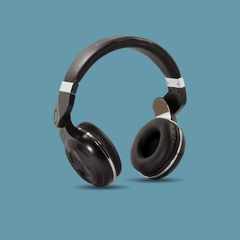 Schwarzer drahtloser kopfhörer lokalisiert auf schöner pastellfarbe