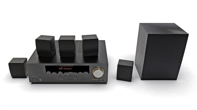 Schwarzer dvd-receiver und heimkinosystem mit lautsprechern und subwoofer. abbildung 3d.