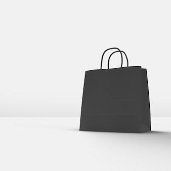 Schwarzer einkaufstasche 3d rendern