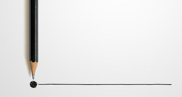 Schwarzer farbstift mit umriss zum endpunkt auf weiß