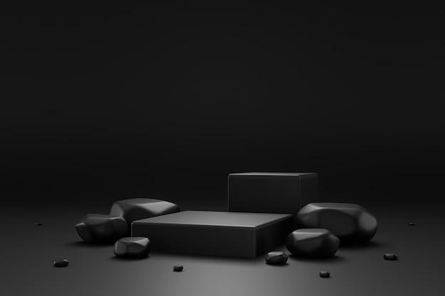 Schwarzer felsensockel
