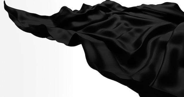 Schwarzer fliegender satin, stoff lokalisiert auf weißer wand. 3d-rendering