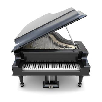 Schwarzer flügel 3d 3d lokalisiert auf weißem hintergrund. musikinstrument.