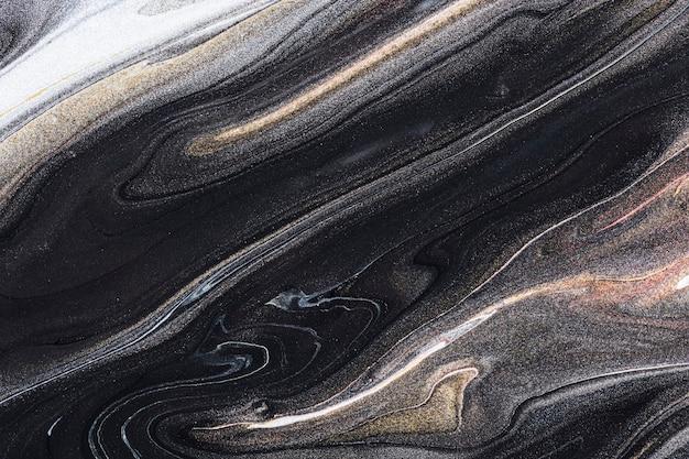 Schwarzer flüssiger marmorhintergrund abstrakte fließende textur experimentelle kunst