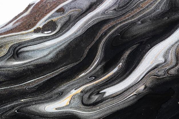 Schwarzer flüssiger marmorhintergrund abstrakte fließende textur experimentelle kunst Kostenlose Fotos