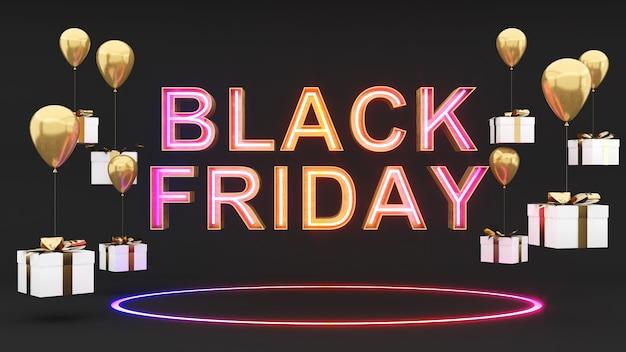 Schwarzer freitag auf schwarzem hintergrund und goldener geschenkbox zur feier der festivalfreigabe