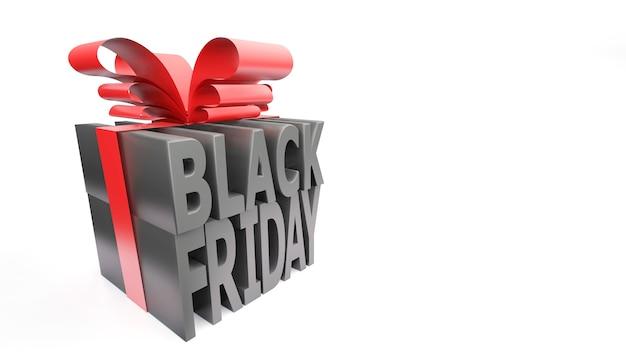 Schwarzer freitag-geschenkbox-stil 3d rendern auf weißem hintergrund