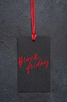 Schwarzer freitag - handschriftliche inschrift auf dem etikett