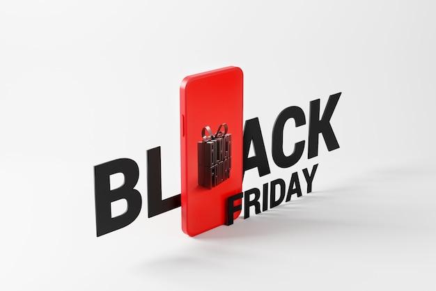 Schwarzer freitag-text mit geschenkbox im handy auf weißem hintergrund