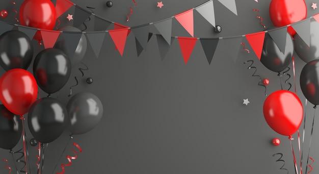 Schwarzer freitag-verkaufsdekoration mit ballongirlandenflagge