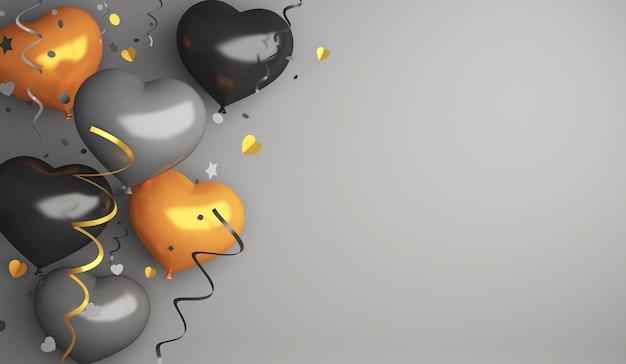 Schwarzer freitag-verkaufsdekorationshintergrund mit herzform-goldballon, kopienraum