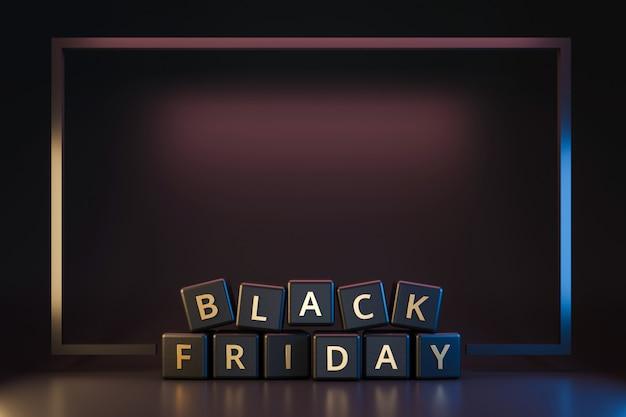 Schwarzer freitag-würfel mit danksagung und weihnachten auf dunklem neonlichtrahmen. rabatt und sonderangebot zum verkauf urlaub. realistische 3d-render.