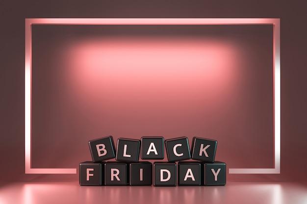 Schwarzer freitag-würfel mit danksagung und weihnachten auf rosa neonlichtrahmen. rabatt und sonderangebot zum verkauf urlaub. realistische 3d-render.