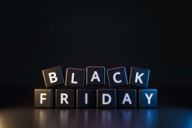 Schwarzer freitag-würfel mit erntedank und weihnachten auf dunklem neonlicht. rabatt und sonderangebot zum verkauf urlaub. realistische 3d-render.