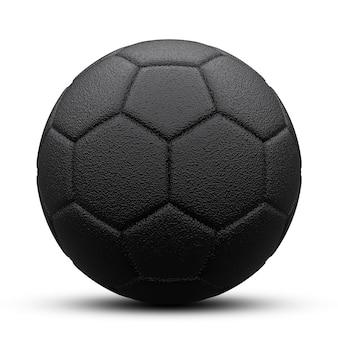 Schwarzer fußball mit schatten. auf weiß isoliert. 3d rendern.