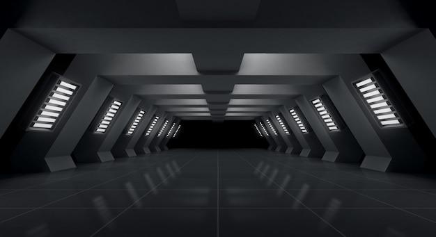 Schwarzer futuristischer und heller leerer hintergrund, wiedergabe 3d