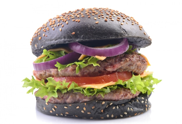Schwarzer hamburger isoliert