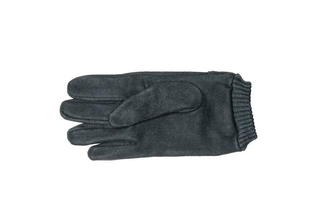 Schwarzer handschuh des wildleders der männer lokalisiert auf einem weißen hintergrund.