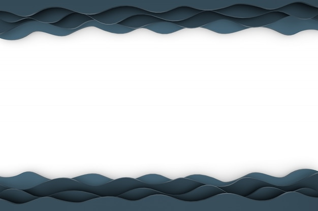 Schwarzer hintergrund des 3d-rendering-papierschnittwellenmusters für hintergrund