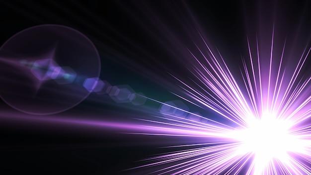 Schwarzer hintergrund mit hellvioletten strahlen kosmischer strahlenhintergrund heller stern