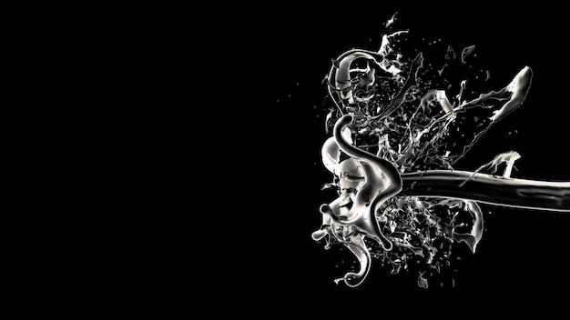 Schwarzer hintergrund mit spritzer flüssigkeit. 3d-rendering.