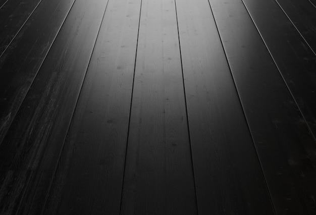 Schwarzer hölzerner hintergrund mit beleuchtung vom fenster. 3d-rendering.