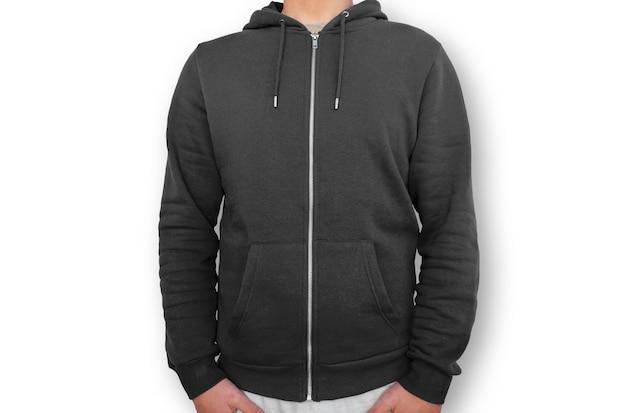 Schwarzer hoodie mit reißverschluss