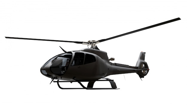 Schwarzer hubschrauber isoliert. 3d-rendering.