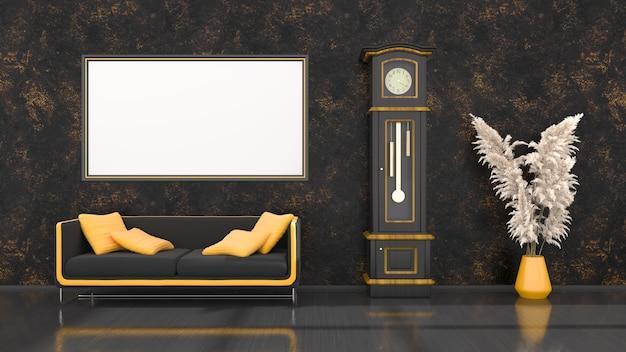 Schwarzer innenraum mit modernem schwarzem und gelbem sofa, uhr und rahmen für modell, 3d-illustration