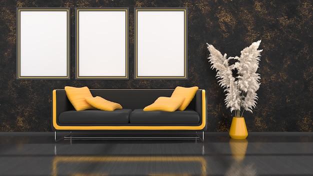 Schwarzer innenraum mit modernem schwarzem und gelbem sofa und rahmen für modell, 3d illustration