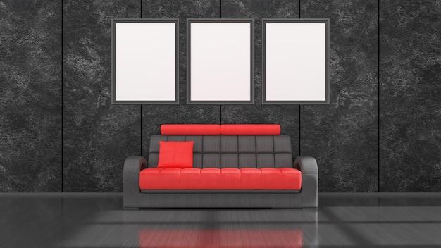 Schwarzer innenraum mit modernem schwarzem und rotem sofa und rahmen für modell, 3d illustration