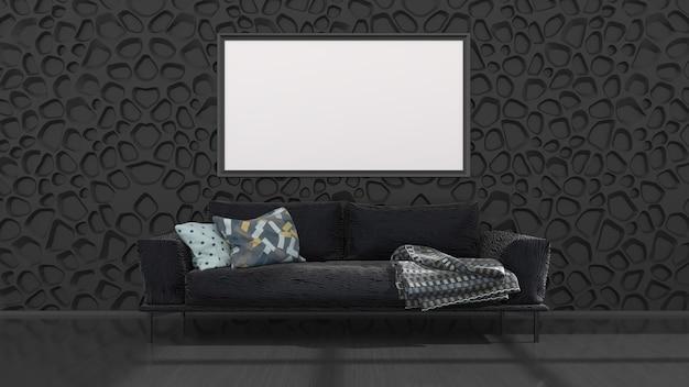 Schwarzer innenraum mit schwarzem sofa und rahmen für modell, 3d illustration