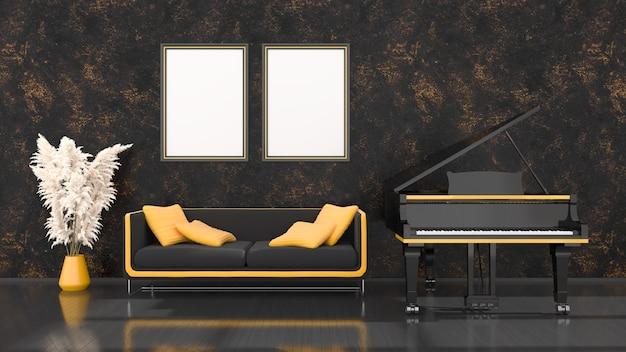 Schwarzer innenraum mit schwarzem und gelbem flügel, sofa und rahmen für modell, 3d illustration
