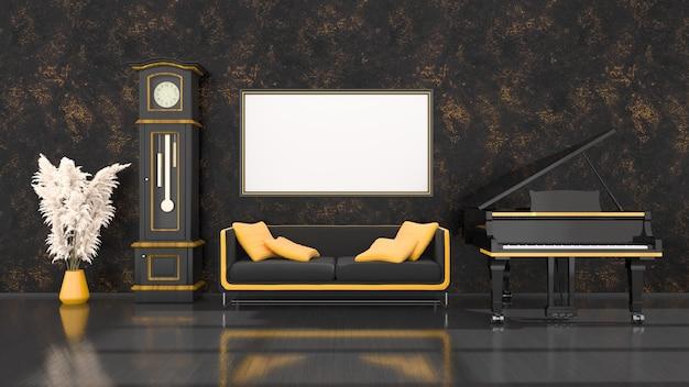 Schwarzer innenraum mit schwarzem und gelbem flügel, weinleseuhr und rahmen für modell, 3d illustration
