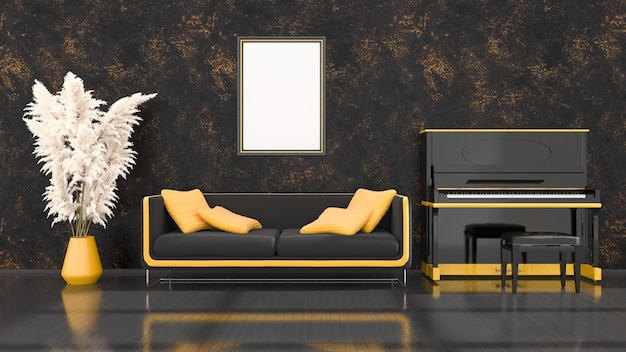 Schwarzer innenraum mit schwarzem und gelbem klavier, sofa und rahmen für modell, 3d illustration