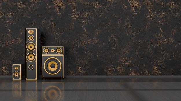 Schwarzer innenraum mit schwarzem und gelbem lautsprechersystem des modernen designs, 3d-illustration