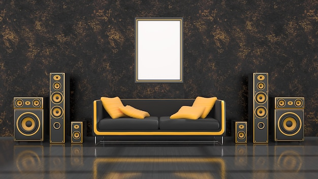 Schwarzer innenraum mit schwarzem und gelbem lautsprechersystem des modernen designs, sofa und rahmen für modell, 3d-illustration