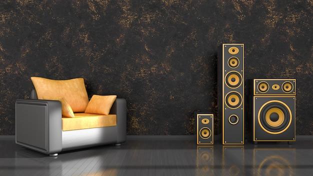 Schwarzer innenraum mit schwarzem und gelbem lautsprechersystem des modernen designs und sessel, 3d illustration