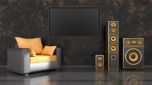 Schwarzer innenraum mit schwarzem und gelbem lautsprechersystem des modernen designs und tv, 3d-illustration