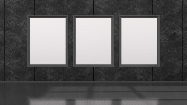 Schwarzer innenraum mit schwarzen rahmen für modell, 3d illustration