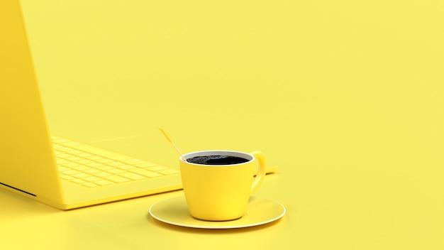 Schwarzer kaffee in der gelben schale auf schreibtisch